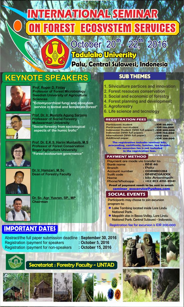 INTERNATIONAL SEMINAR ON FOREST ECOSYSTEM SERVICES – TADULAKO UNIVERSITY