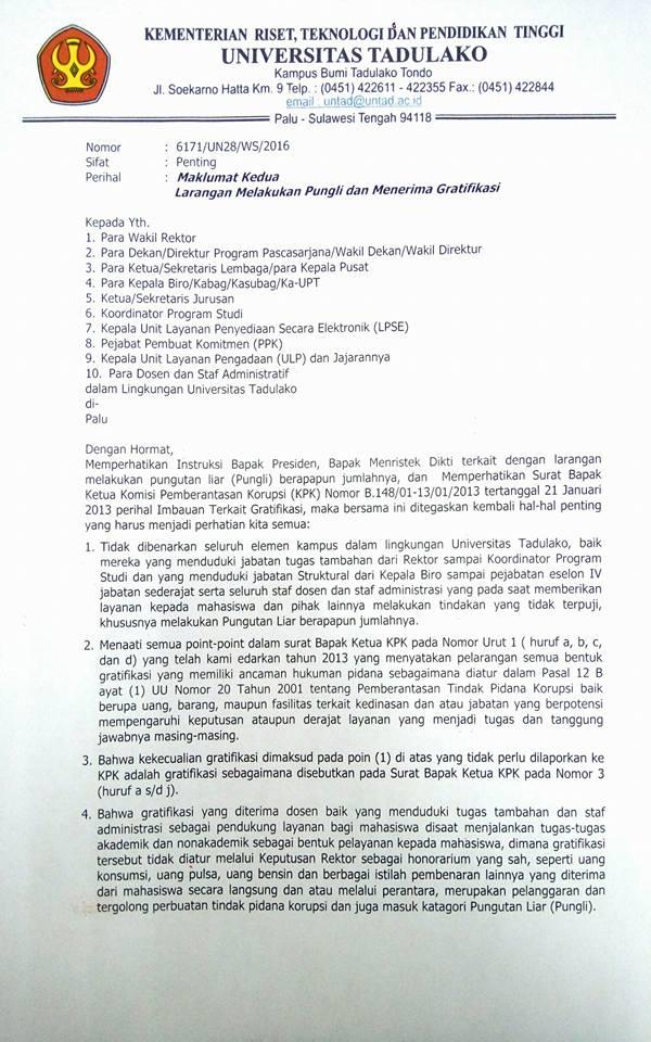 Rektor Untad Tindaklanjuti Instruksi Presiden tentang Layanan Bebas Pungli