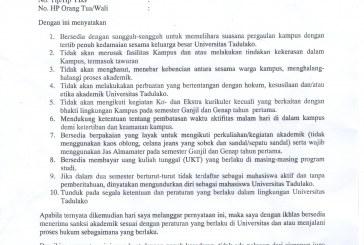 REVISI SURAT PERNYATAAN MAHASISWA UNIVERSITAS TADULAKO