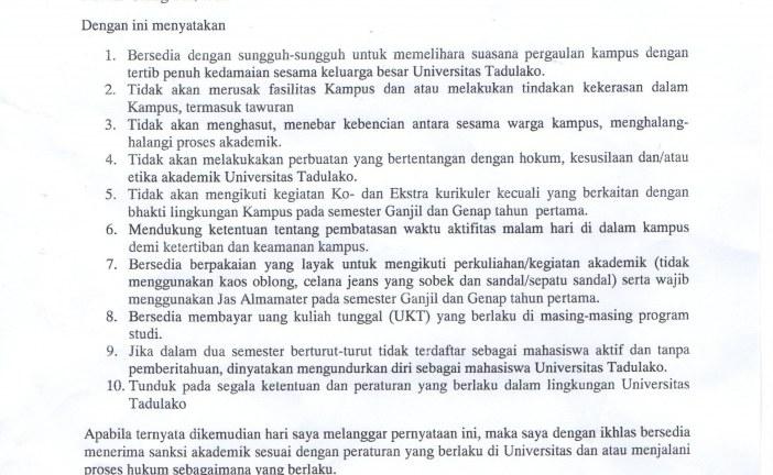 SURAT PERNYATAAN MAHASISWA UNIVERSITAS TADULAKO