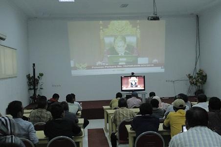 Video Conference Persidangan MK Live di Fakultas Hukum Untad