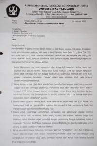 Surat Edaran Rektor tentang Terminologi Kebulatan Studi (Lembar Kesatu)