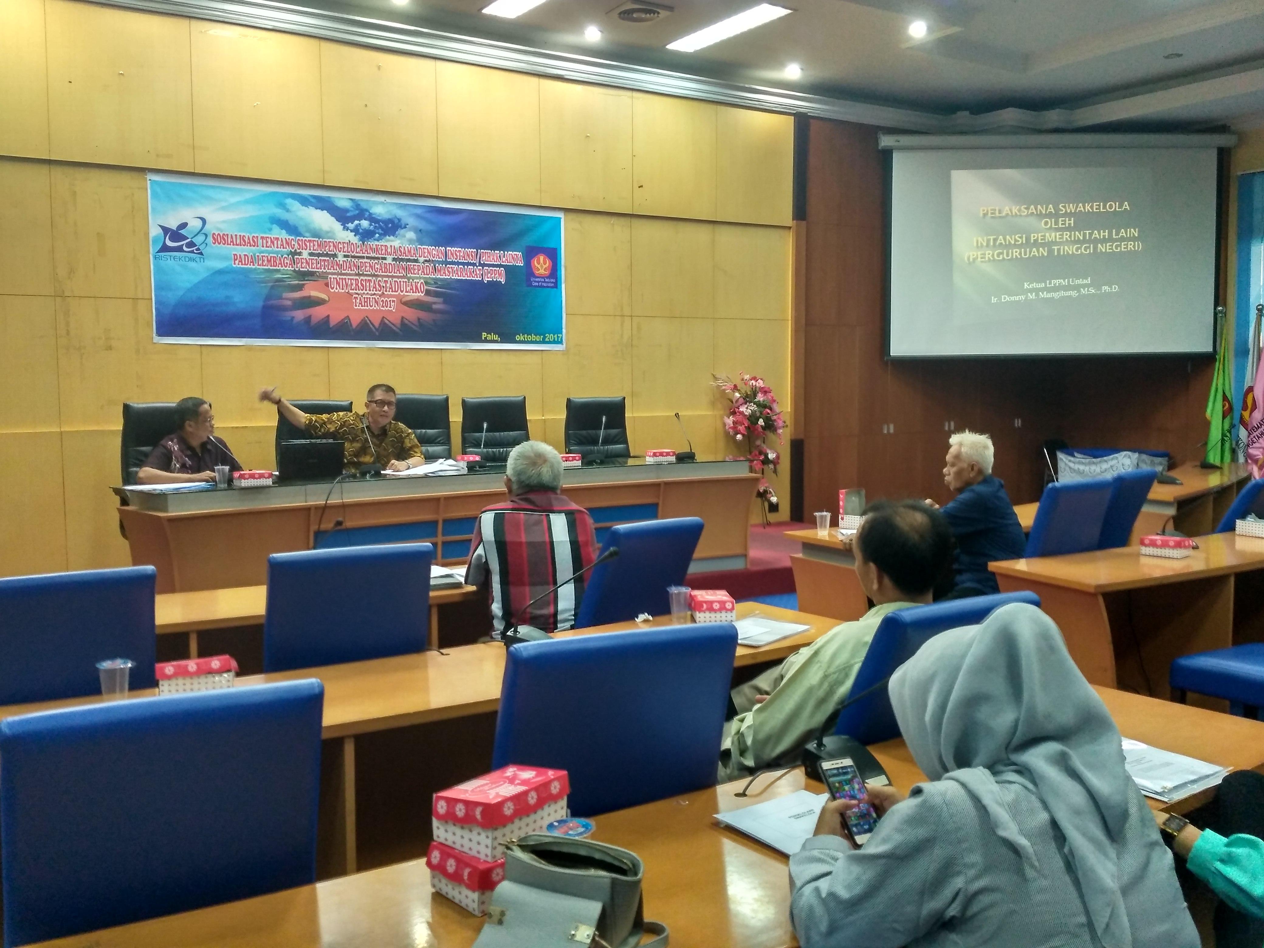 LPPM Untad Gelar Sosialisasi Sistem Pengelolaan Kerjasama Bersama Berbagai Instansi