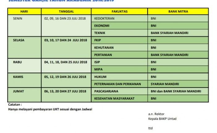 Jadwal Pembayaran UKT Bagi Mahasiswa Lama 2018