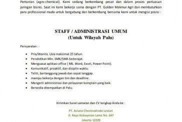 LOWONGAN PEKERJAAN PT. Asiana Chemicalindo Lestari Jakarta