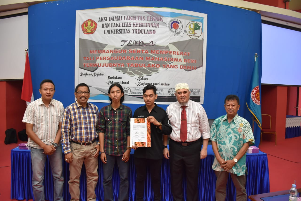 Deklarasikan Aksi Damai, Pihak FAHUT dan FATEK Untad Tandatangani Surat Perjanjian Damai