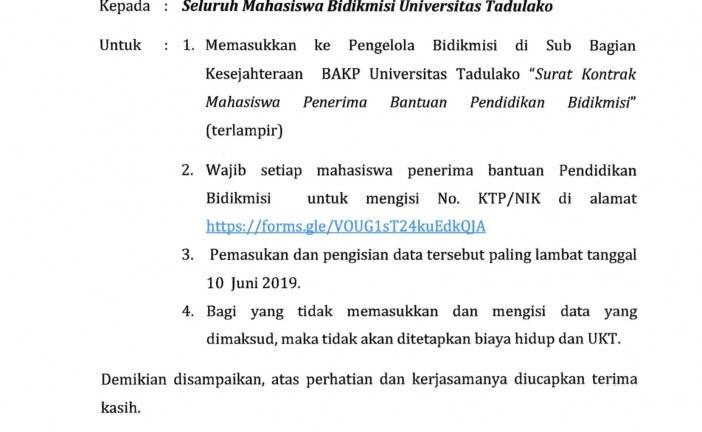 PENGUMUMAN KEPADA MAHASISWA PENERIMA BANTUAN PENDIDIKAN BIDIKMISI 2019