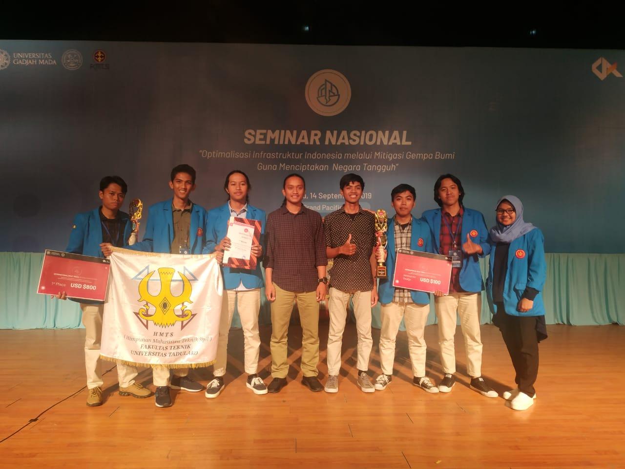 Team 'Tarsius Jaya' Untad Raih Juara I Dalam Ajang International Roof Truss Design Competition 2019 Di UGM
