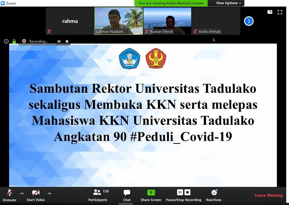 Untad Lepas 3.512 Mahasiswa KKN  Angkatan 90 Untuk Cegah Penyebaran Covid – 19