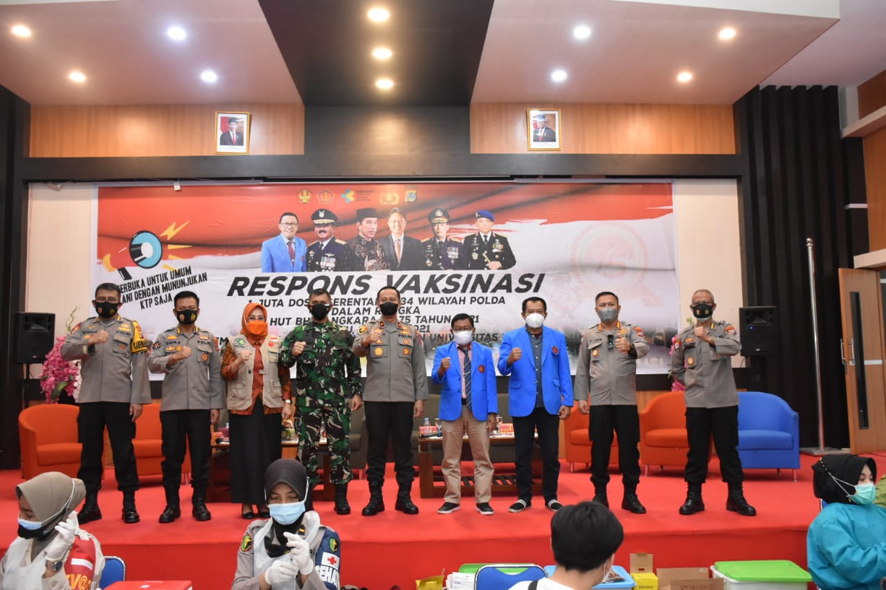 Polda Sulawesi Tengah Bersama Universitas Tadulako Gelar Vaksinasi Covid Gratis