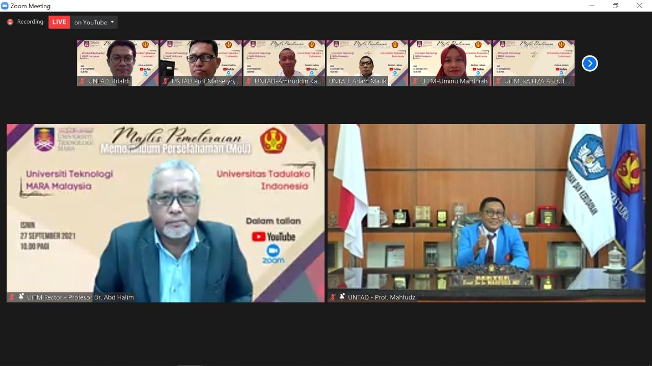 Universiti Teknologi Mara Melaka Malaysia & Untad Jalin Kerjasama Dibidang Pendidikan Akademik, Budaya Dan Pertukaran Ilmiah